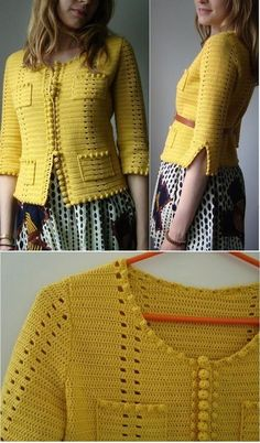 Explore social posts about your interests - Diy Crafts Stricken Liebe Liebe Diy Crafts 443182419581940746 P Diy Crochet Sweater, Crochet Tunic, Freeform Crochet, Crochet Clothes, Crochet Jacket Pattern, Sewing Clothes Women, Popular Crochet, Crochet Designs, Diy Crafts