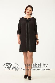 Изящное маленькое черное платье  из крепа с отделкой.  Платья больших размеров от tetrabel.by. Платья больших размеров оптом.  #МаленькоеЧерноеПлатьеДляПолных #НарядныеПлатьяДляПолных