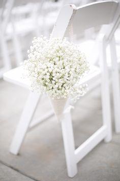 Baby's Breath wedding chair decoration orlandoweddingflowers/ www.weddingsbycar...