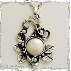 Sterling silver leaves with coin pearl botanical by silvercrush ~ Amazing!