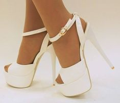 Shoes ♡ Heels Lovely white high #heel ankle strap shoes