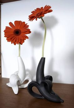 introducing our banana bud vase, a vase of Freudian proportions. Jonathan Adler pottery begins its life in our Soho studio, where Jonathan and his team design and sculpt every prototype. Bud Vases, Flower Vases, Kitsch, Home Decoration Images, Banana Flower, Jonathan Adler, Contemporary Decor, Modern House Design, Beautiful Interiors