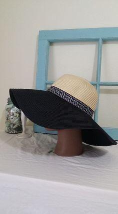wide brim hat derby style navy blue white