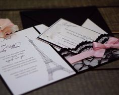Free Design Sample Available at our Website www.ASimplySouthernSoiree.com Paris Themed Sweet 16 Invitation or Quinceanera Invitation in Soft Pink with Black Lace Pocket and Eiffel Tower