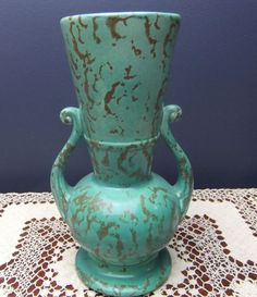 Rum Rill Pottery Turquoise Textured Stone Pattern Handled Vase  #502 #Rumrill
