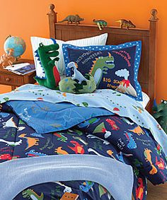 @Overstock - Dinosaur-print bedding set delightfully makes over your child's bedroom decorMake bedtime fun with prehistorically-themed bedroom ensembleBedding ensemble includes everything you need to turn your child's bedroom into a jurrasic parkhttp://www.overstock.com/Bedding-Bath/Scary-Dinosaur-Bedding-Ensemble/2599990/product.html?CID=214117 $59.99