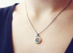 chevron necklace - mint and coral dainty locket. $15.00, via Etsy.