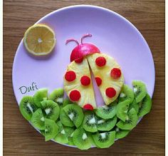 Ladybug made of fruit