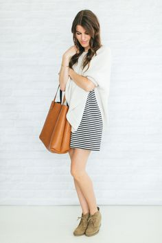 4.3 how to take a summer dress into fall- we all love a stripes little dress!