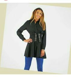 Daily Fashion, High Fashion, Smart Casual Shirts, Belted Shirt Dress, Fashion Boutique, Outfit Of The Day, Work Wear, Corset Belt, Tunic Tops