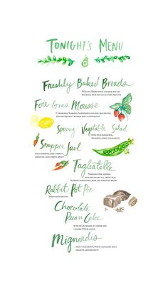 Food For Thought Menu |  2013  A menu comissioned by Erwin Penland for the culinary experience for the sixth annual Food For Thought Conference. All hand lettering and illustration were achieved with watercolor and laid out on Adobe Photoshop.