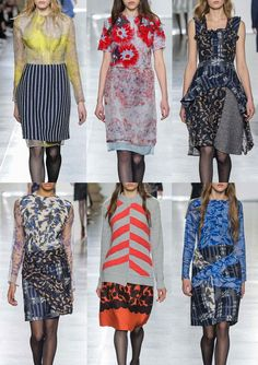 Michael_van_der_Ham_Group_SS1516_London_Catwalk_Style Botanical influences_loose threading and bonding_draped applique_naive checks_black scroll and floral borders_marks and marbling