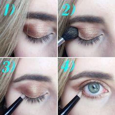 1. Using a flat eye shadow brush, pack MAC's Woodwinked eye shadow across your…