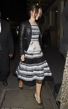 Keira Knightley wearing Balenciaga Quilted Motorcycle Jacket, Michael Van Der Ham Spring 2015 Tiered Embellished Dress and Jimmy Choo Mimi Pumps Estilo Keira Knightley, Star Fancy Dress, Star Fashion, Fashion Outfits, Balenciaga Jacket, Green Pumps, Garance, Chanel Dress, Vogue