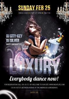 Free Luxury Flyer PSD Template - http://freepsdflyer.com/free-luxury-flyer-psd-template/ Free Luxury Flyer PSD Template is perfect for clubs, parties, music events.  #Club, #Dance, #Deluxe, #Electro, #Gold, #Ladies, #Lounge, #Party, #Sexy