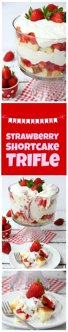 Strawberry Shortcake Trifle - A beautiful and delicious trifle layered with vanilla cake, homemade strawberry glaze and cream! Such a pretty dessert! Tolle Desserts, Köstliche Desserts, Delicious Desserts, Dessert Recipes, Strawberry Shortcake Trifle, Shortcake Recipe, Strawberry Triffle, Strawberry Recipes, Strawberry Glaze