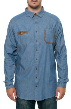 Chambray Raglan Buttondown w/ Leather Accents - Washed Denim by Astorre Cut   Sew