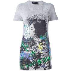 Dsquared2 graffiti print long T-shirt (€220) ❤ liked on Polyvore featuring tops, t-shirts, grey, long tshirts, long length t shirts, paint splatter tee, grey top and short sleeve t shirts