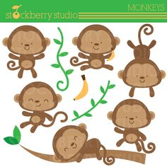 Monkeys Clipart Set Personal and Commerical door stockberrystudio Pretty Drawings, Beautiful Drawings, Monkey Pictures, Safari, Cartoon Tattoos, Cute Monkey, Cute Clipart, Little Monkeys, Longarm Quilting