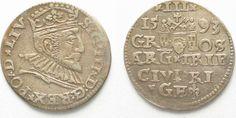 1593 Riga RIGA 3 Groschen (Trojak) 1593 GE SIGISMUND III of POLAND silver VF+ # 95143 VF+