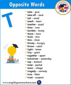Alphabetical Opposite Word List T - English Grammar Here Learn English Grammar, English Writing Skills, English Vocabulary Words, Learn English Words, English Language Learning, English Lessons, English English, Antonyms Words List, Opposite Words List