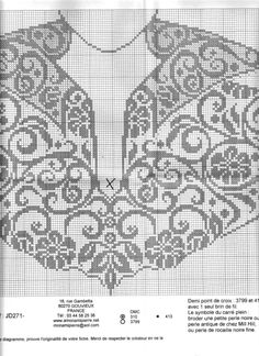Gallery.ru / Фото #1 - b - uni4ka Fair Isle Knitting Patterns, Knitting Charts, Lace Knitting, Knitting Stitches, Crochet Patterns, Crochet Yoke, Filet Crochet Charts, Crochet Collar, Crochet Diagram