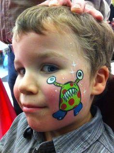 Nancy Isabelle Labrie, Children's Makeup - Nancy Isabelle Labrie Art and Cr . Alien Face Paint, Monster Face Painting, Mask Face Paint, Face Painting Designs, Body Painting, Monster Party, Childrens Makeup, Burning Rose, Cheek Art