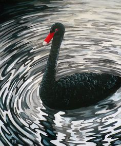 Painting «Black Swan» by Nadine Reifenberger, Acrylic on canvas board, 50 x 60 cm, 2014, http://grenadine.de.to