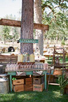 Northern California Backyard Wedding: rustic lemonade stand www.joyfulweddingsandevents.com
