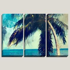 """Let Love Rule"" Watercolor Art, Palm Tree, Canvas Art, Watercolor Art, Abstract Watercolor, Caribbean Decor, Beach Art, Coastal, Triptych, Photography, by Joelle Joy"