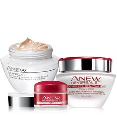 A $72 value, for only $35 come with Anew Clinical advanced wrinkle corrector, Anew reversalist Complete Renewal Day Cream Broad Spectrum, Anew Reversalist Complete Renewal Night Cream Try-It Size Find this and more at www.sheza2000.avonrepresentative.com