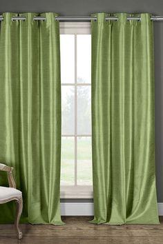 DUCK RIVER Daenery's Faux Silk Foamback Grommet Curtains 96L - Set of 2 - Sage