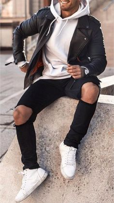 Men fashion casual 767723067715459344 - rakish fit Source by tredancamille Stylish Mens Outfits, Casual Outfits, Men Casual, Simple Outfits, Outfit Hombre Casual, Ripped Jeans Outfit, Leather Jacket Outfits, Herren Outfit, Hoodie Outfit