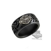 ** SIZE 12 ONLY ** Harley-Davidson® Mens Stainless Steel B&S Logo 12mm Grey Titanium Band Ring by Stamper Black Hills Gold Jewel TR007SGBS