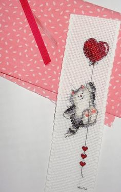 Margaret Sherry Lovers ~ Kitty with heart balloon bookmark~ Cross Stitch Books, Cross Stitch Bookmarks, Cross Stitch Needles, Cross Stitch Heart, Cross Stitch Cards, Cross Stitch Animals, Modern Cross Stitch, Cross Stitch Kits, Counted Cross Stitch Patterns