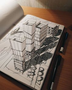 Architecture Drawing Sketchbooks, Architecture Concept Drawings, Art And Architecture, Urban Sketching, Art Drawings Sketches, Art Sketchbook, Amazing Sketches, Composition Design, Architectural Sketches