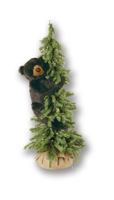 Climbing Pine Tree Bear 40 Inch  Buy bears in trees for your rustic home at www.lightsinthenorthernsky.com