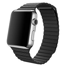 Apple Watch Armband,Wollpo® Echtes Leder Schleife mit Magnetisch Ersatz Bügel Uhrenarmband Armband für Apple Watch 38mm (genuine leather loop-Black 38mm) - http://uhr.haus/wollpo/genuine-leather-loop-black-38mm-fitbit-blaze-band