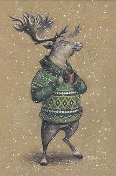 VERY RARE deer in sweater with mug by Lia Selina Russian modern postcard