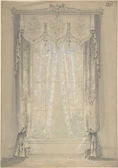Victorian design for drapery panels & valance