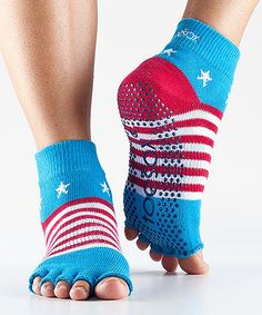 Look at this ToeSox Stars & Stripes Half-Toe Organic Gripper Ankle Socks on #zulily today!