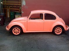 The Pink Beatle: by James Knox. My all time favorite VW that I have ever seen! Beetle Bug, Vw Beetles, Pink Beetle, Volkswagen, My Dream Car, Dream Cars, Painted Vans, Shades Of Peach, Rear Wheel Drive