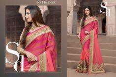 #Wonderful #Pink #Chiffon #Saree #With #Light #Stripes #On #The #Pallu $101.64 www.fashionumang.com
