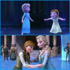 Anna & Elsa in d beginning & d end of d movie.