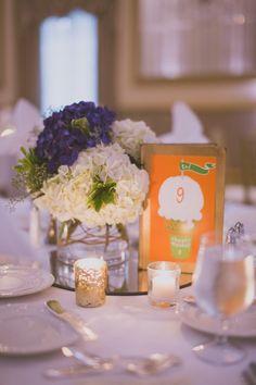 we ❤ this! moncheribridals.com #weddingtablenumbers #weddingcenterpiece #purplewedding