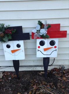 pallets Mr & Mrs snowmen pallets