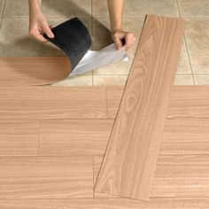 Peel-And-Stick Wood-Look Plank Flooring | Top Rated Furniture & Decor | Brylanehome. Cheap update for small bathroom downstairs. Reviews were great