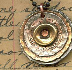 COPPER filligree SMASHED button pendant