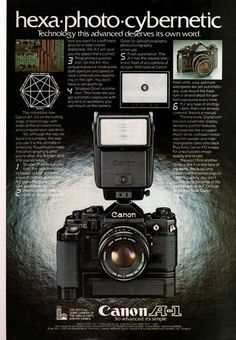 This advertisement portrays the principle of design 'dominance' well as there is a main element in the ad that makes readers look at it first before looking at anything else. The main element thus is the dominant element in the ad. Antique Cameras, Vintage Cameras, History Of Photography, Camera Photography, Vintage Photography, Movie Camera, Camera Lens, Foto Canon, Canon Kamera