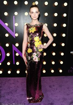 Elle Fanning outshines sister Dakota as she wears sequin gown to Neon Demon LA…